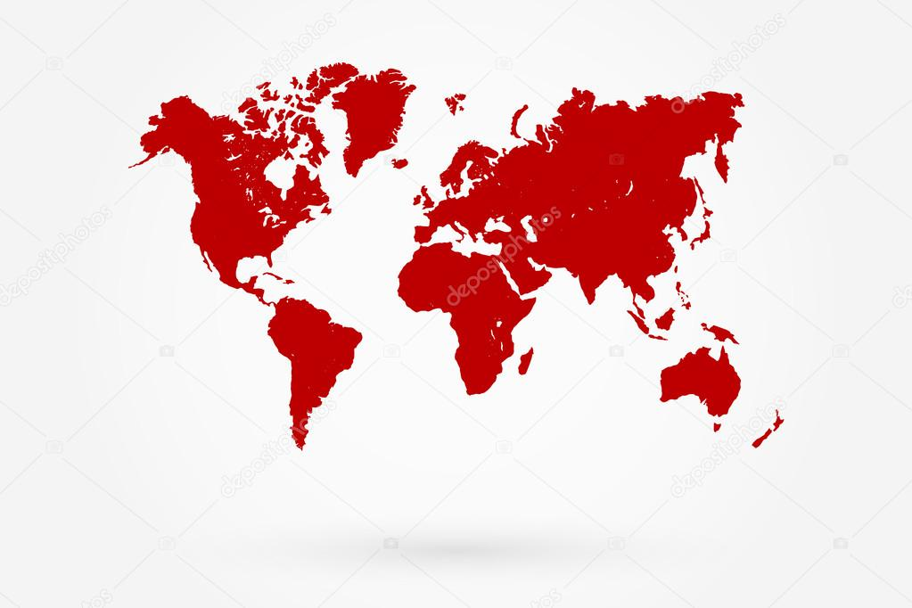 Retro Red World Map With Shadow