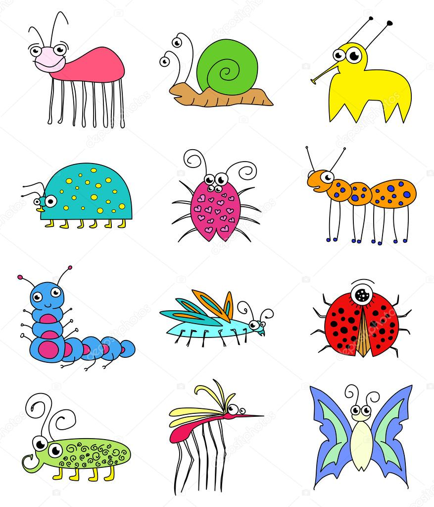 Funny Colored Insects Bugs Set