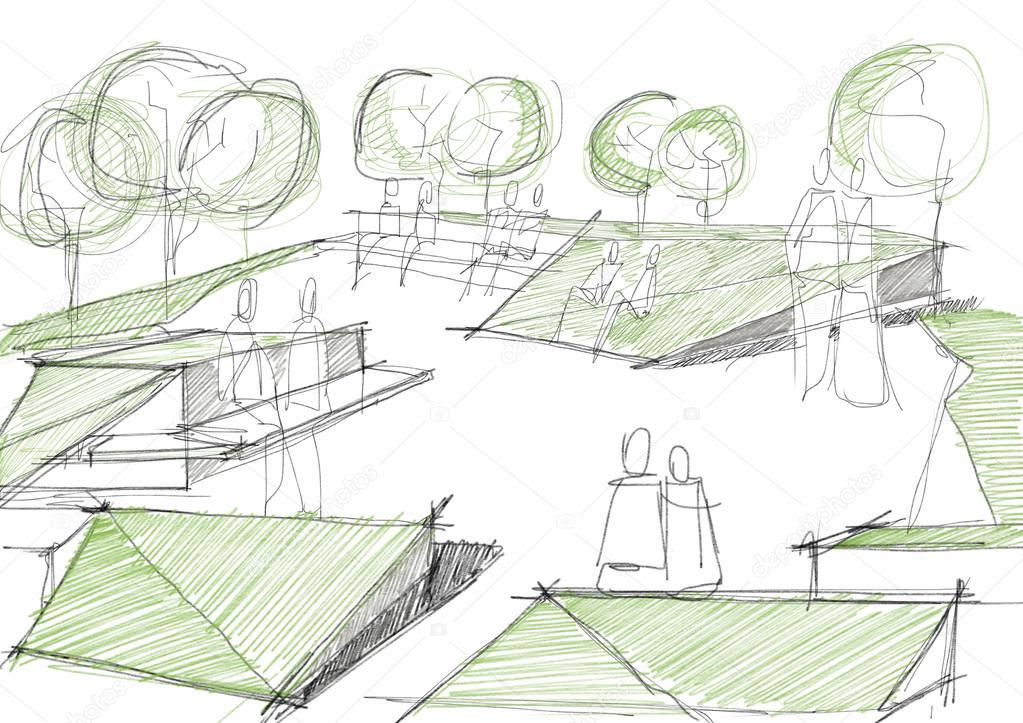 Public Park Architectural Sketch — Stock Photo © radub85 ...