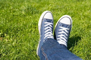 Retro Sneakers On Grass