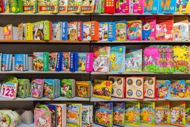 Children Books On Library Shelf