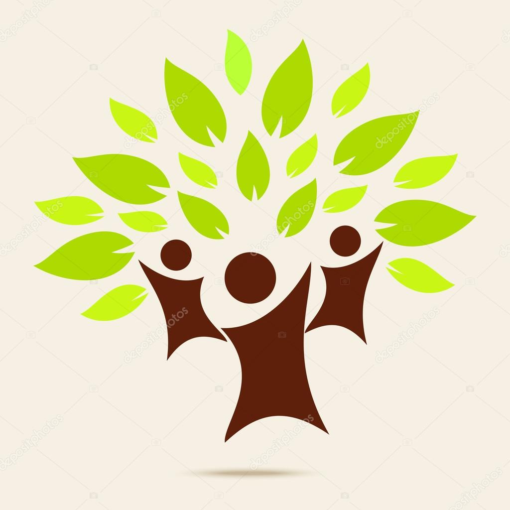 Eco sign icon with man and green leaf