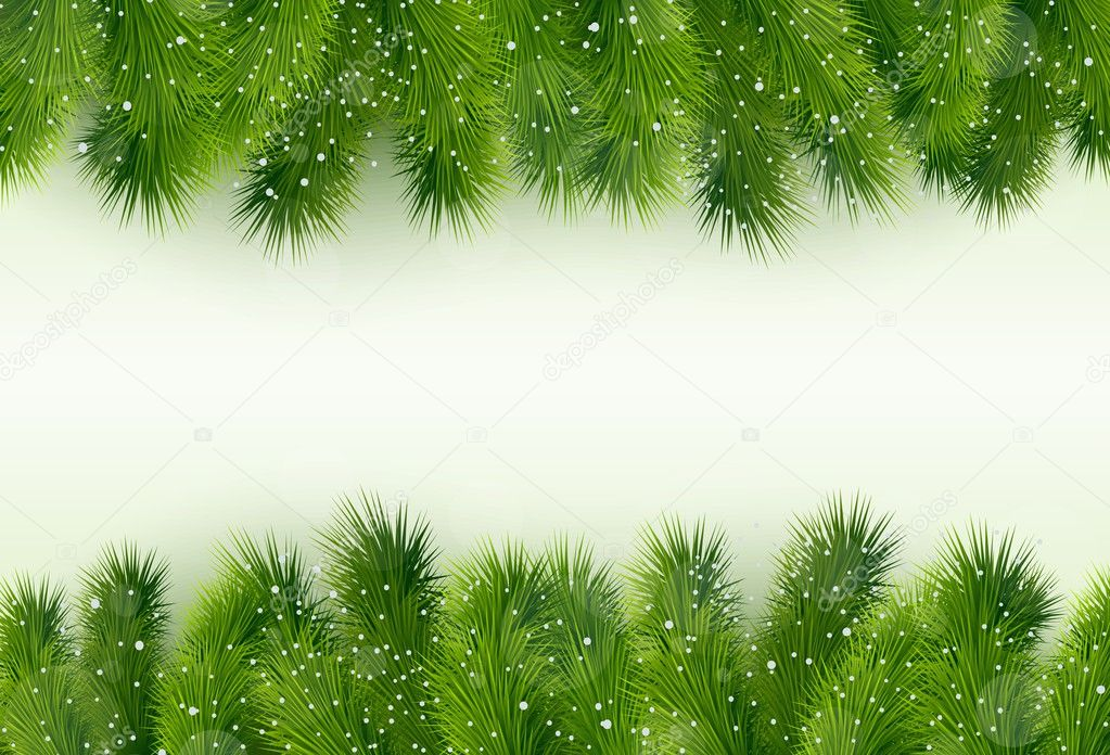 Christmas greeting with fir tree and balls