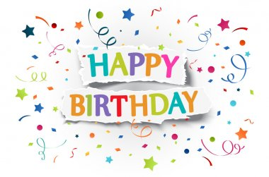 Happy birthday greetings on ripped paper
