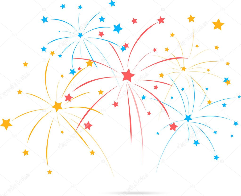 Fireworks With Star On White Background Stock Vector