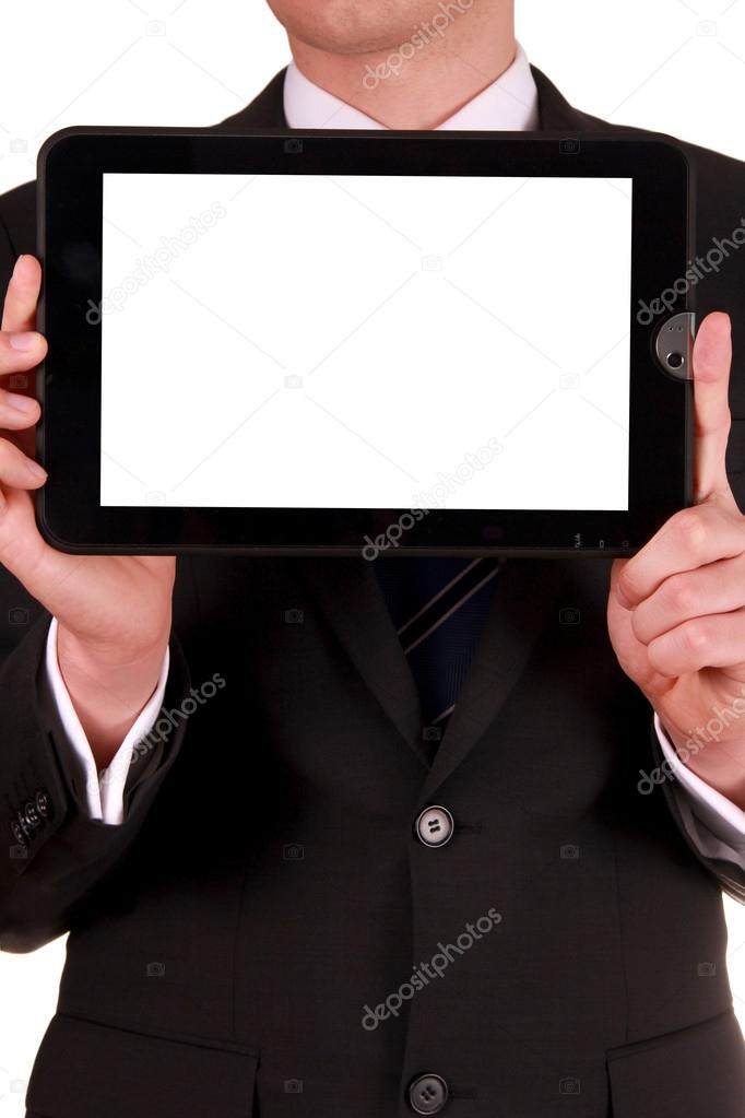 Businessman holding tablet with blank white screen