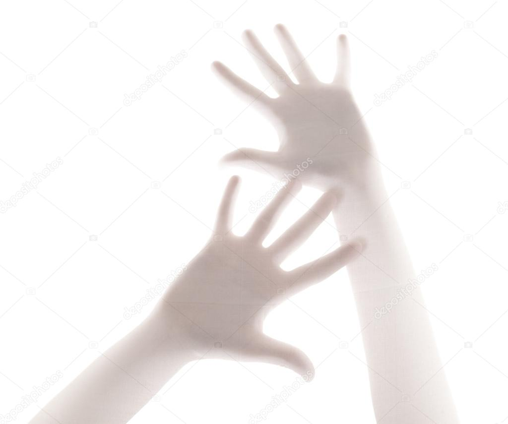 Scary shower curtain - Scary Palm Of Hand Behind Shower Curtain Background Stock Photo 24005389