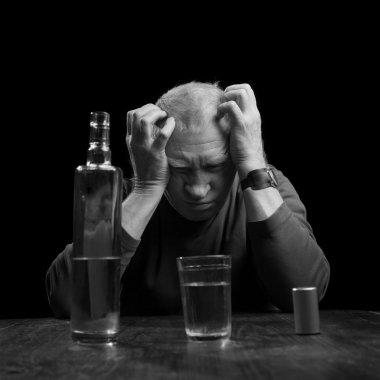 portrait of alcoholic senior man