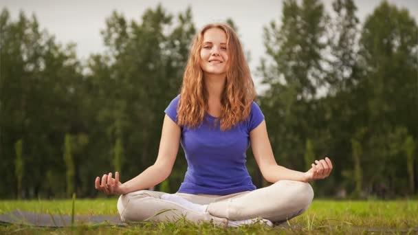Žena se zabývá jóga na zelené louce