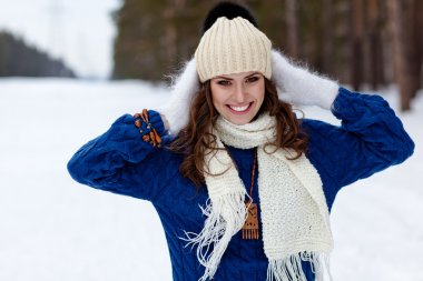 Winter portrait of beautiful happy woman