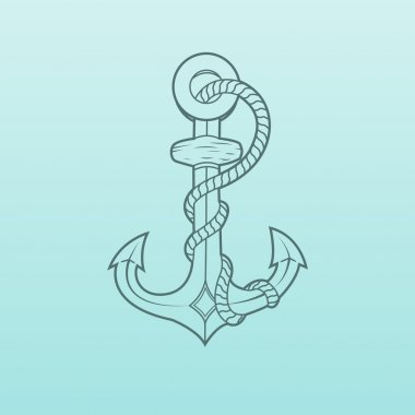 Nautical Anchor with rope isolated on green background. Green outlines. Vector Illustration