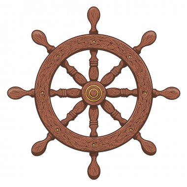 Detailed brown outlines nautical rudder isolated on white background. Ship element. Vector illustration.