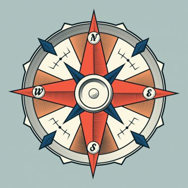 Vintage colourful graphic compass isolated on light background. Vector Illustration.