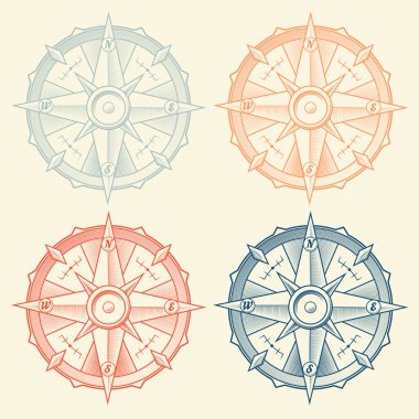 Set of vintage graphic compasses isolated on light background. Vector Illustration.