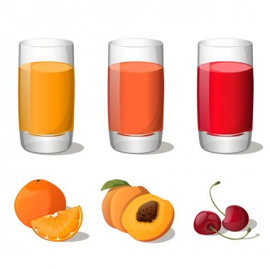 Set of juices in glass (orange, peach, cherry) isolated on white background. Vector Illustration. All fruits are in groups and easy to use.