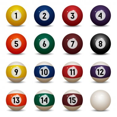 Isolated colored pool balls. Numbers 1 to 15 and zero ball. Vector Illustration