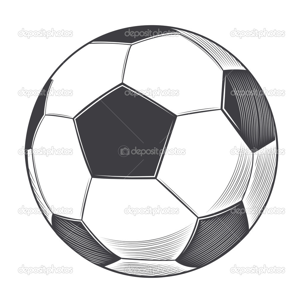 Ballon de football isol sur fond blanc dessin au trait illustration vectorielle image - Dessin de ballon de foot ...