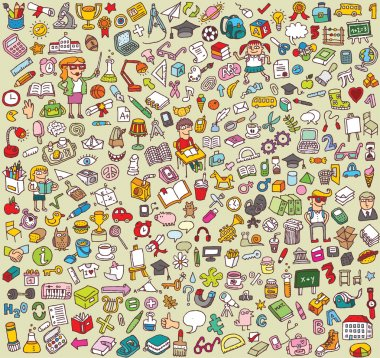 Big School and Education Icons Collection of numerous fine small hand drawn illustrations: objects, icons, . Individual icons are grouped only in vector version. Illustration is in eps8 vector mode! stock vector