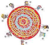 acht Kinder Labyrinth Spiel