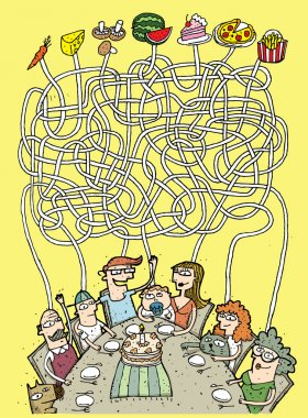 Family and Food Maze Game