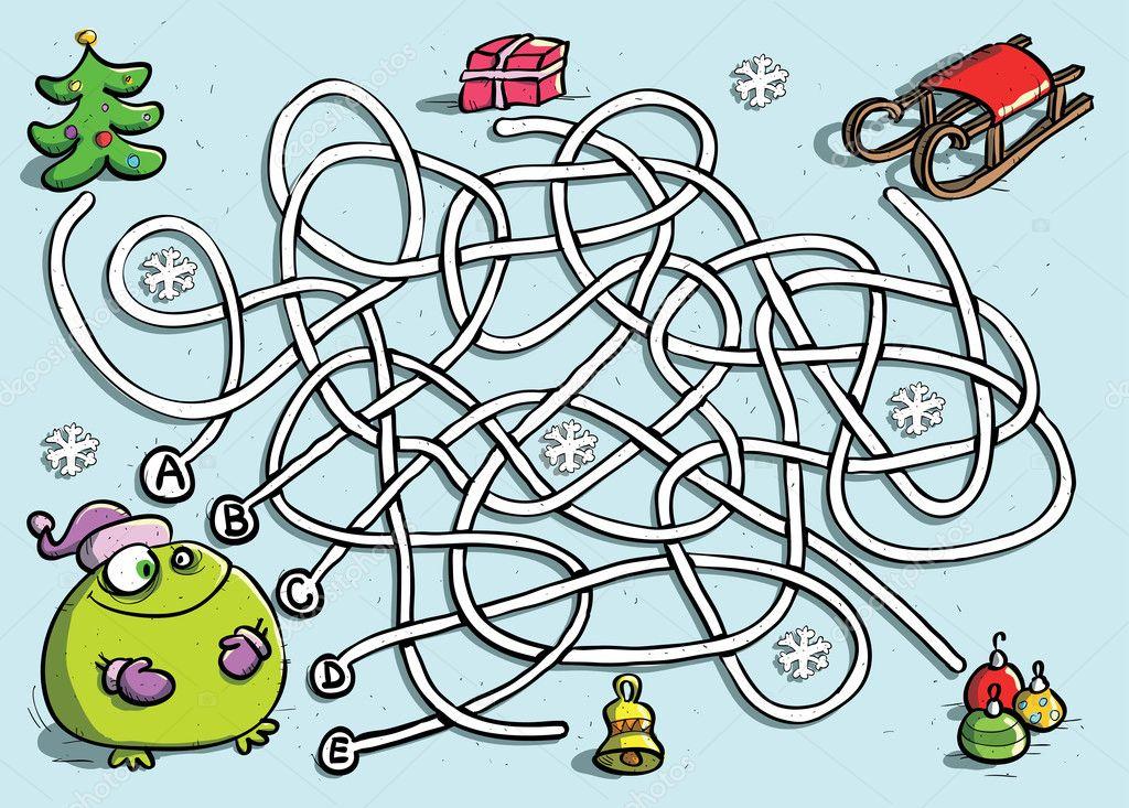 lustige frosch im winter labyrinth spiel stockvektor. Black Bedroom Furniture Sets. Home Design Ideas