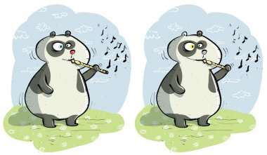 Panda with Flute Differences Visual Game