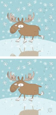 Funny Christmas Moose Differences Visual Game