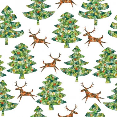 Magical Mosaic Christmas Trees Forest with Reindeer