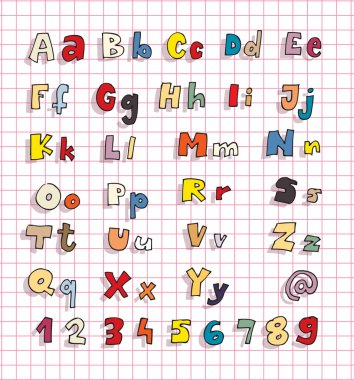 Hand Drawn Bold Simple Alphabet ABC in colours