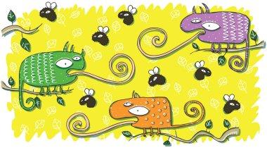 Chameleons and Flies Cartoon Set