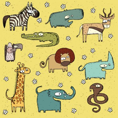 Grunge African Animals Collection No. 2
