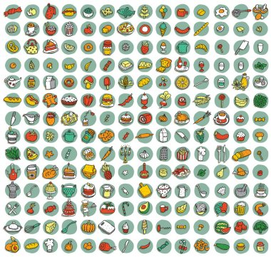 Collection of 196 food and kitchen doodled icons