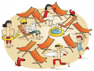 Young people having fun on a beach
