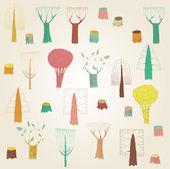 velké grunge stromy kolekce v barvách, s texturou, na béžové g
