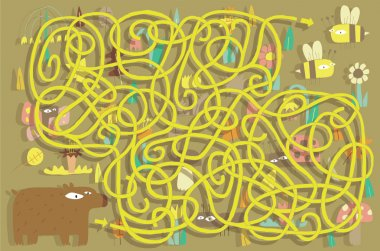 Bees Maze Game. Solution in hidden layer!