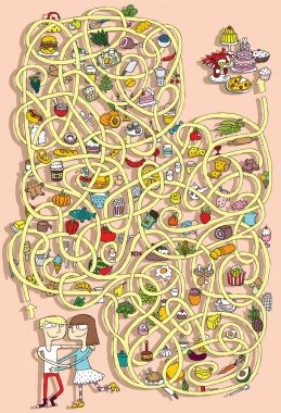 Food Maze Game. Solution in hidden layer!