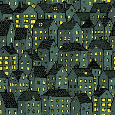 City seamless pattern at night