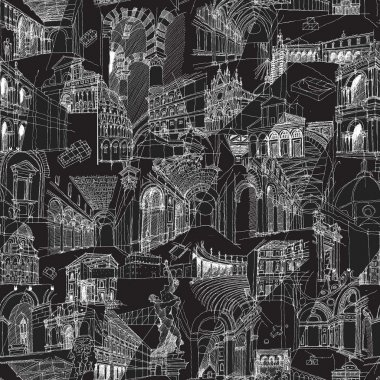 Historic Italian Architecture Collage seamless pattern