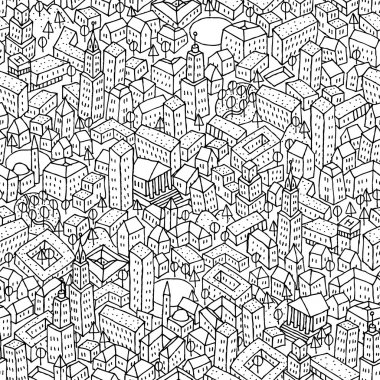 City seamless pattern is repetitive texture with hand drawn houses. Illustration is in eps8 vector mode. stock vector