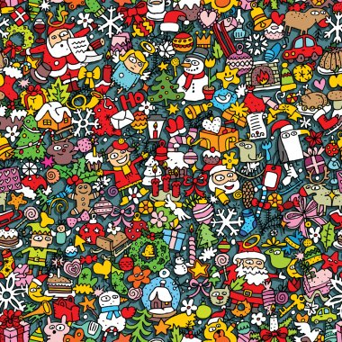 Christmas seamless pattern (repeated) with mini doodle drawings (icons). Illustration is in eps8 vector mode. clip art vector