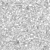 Symbols seamless pattern in black and white