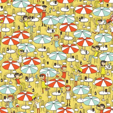 Beach bar seamless pattern