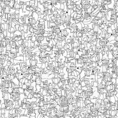 Dance party seamless pattern in black and white