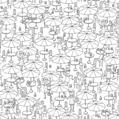 Beach bar seamless pattern in black and white