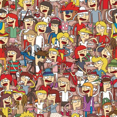 Singing children seamless pattern