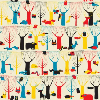 Wood Animals tapestry seamless pattern in modernistic colors