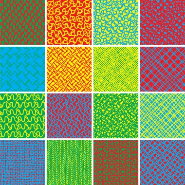 Basic Doodle Seamless Pattern Set No.8 in colors