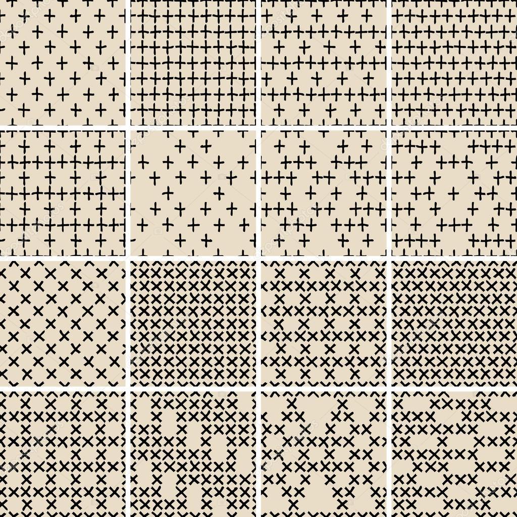 patrón sin costuras doodle básico conjunto no.5 en blanco y negro ...