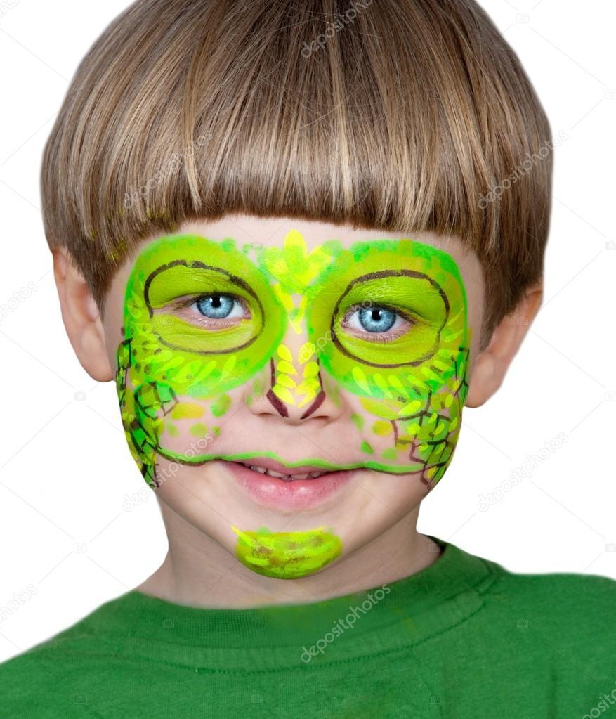 kleiner junge macht schminken halloween chameleon stockfoto darkfreya 31434647. Black Bedroom Furniture Sets. Home Design Ideas
