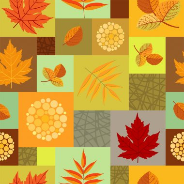 Autumn leaves and abstract berries seamless pattern